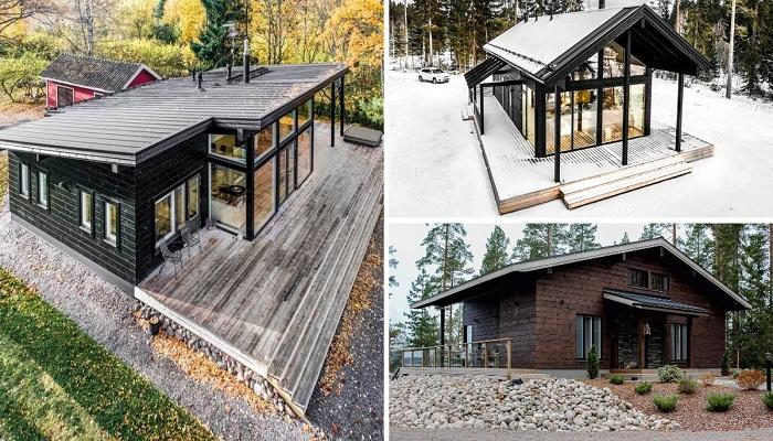 Одноэтажные деревянные дома финской архитектурной компании Pluspuu Oy.