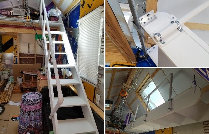Лестница превращается в специальную лебедку, которая помогает Дани добраться в спальню на второй ярус. | Фото: thetinyhousethatgrandmabuilt.blogspot.com.