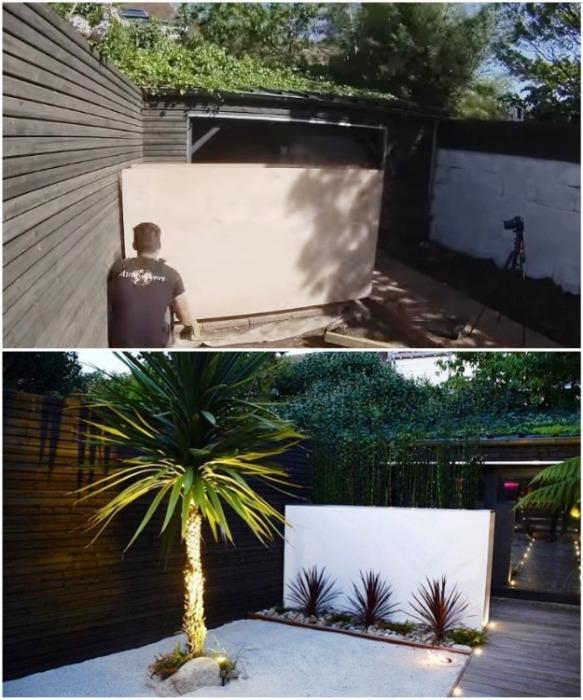 За такой стеной-клумбой спрятал сарай, фасад которого сделал из зеркальных стекол. youtube.com/ M A R V I N Atmoss'vert.