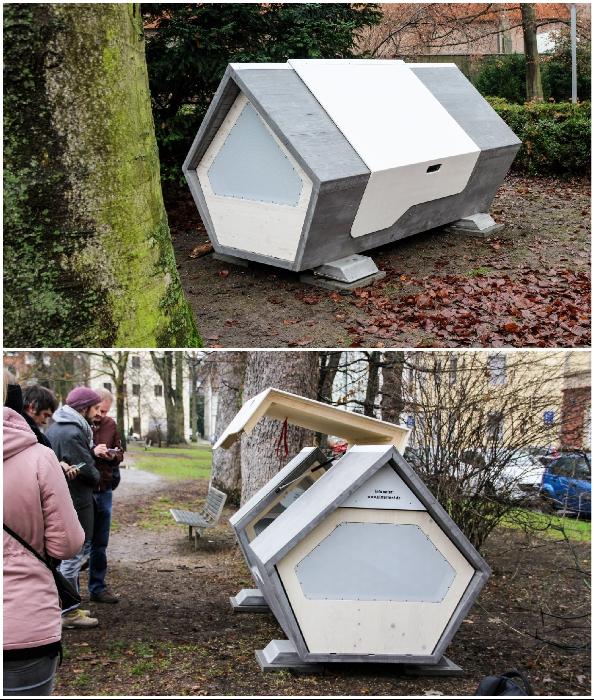 В Германии появились спальные капсулы для укрытия бездомных в холодные ночи («Ульмское гнездо», Ulmer).