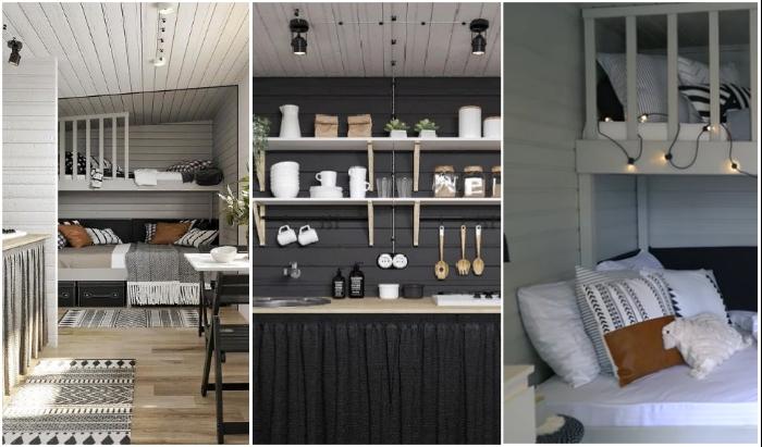 Правильный подбор цветов для выделения зон позволил узкое вытянутое пространство превратить в стильный и комфортный домик.