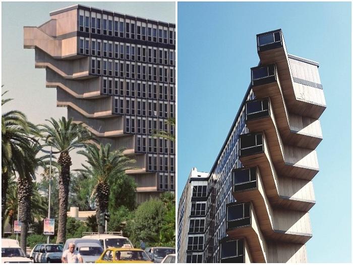 Выступающие зазубрины на торцах здания выглядят эффектно-устрашающе (Hotel du Lac, Тунис). | Фото: forum.hardware.fr.
