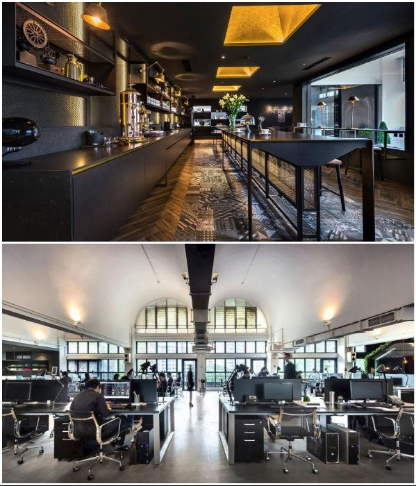 Большие площади позволили оформить просторную рабочую зону и обеденный зал (офис архбюро Park + Associates, Сингапур). | Фото: homedit.com.
