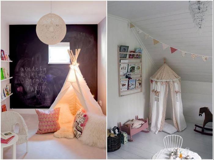 Вигвам или ширма станет прекрасной возможностью создания игровой зоны в углу детской комнаты. | Фото: headymade.ru/ lachat.ru.