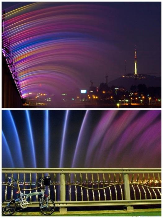 За 1 минуту 380 «носиков» выпускает около 190 т. воды (фонтан «Банпо», Сеул). | Фото: alfa-industry.ru/ pinterest.co.uk.