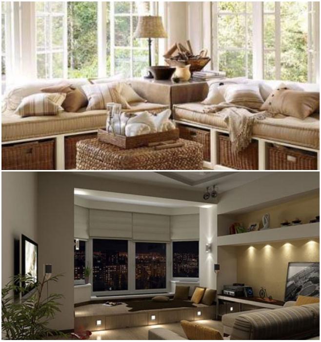 Подиум вместо подоконника прекрасно заменит диванчик для чтения у окна. | Фото: sovetdomu.ru/ mrhomes.ru.