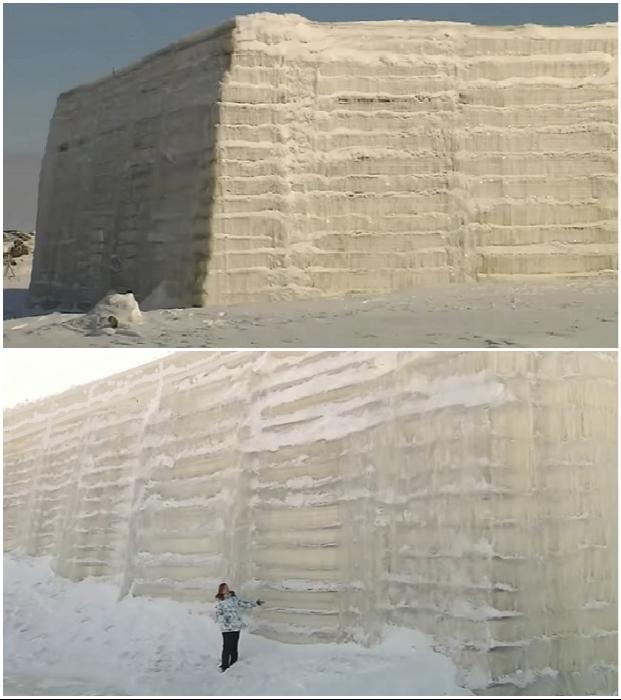 За 5 месяцев всего два сотрудника создают дамбу, высота которой не ниже трехэтажного дома (пос. Хатанга, Таймыр).