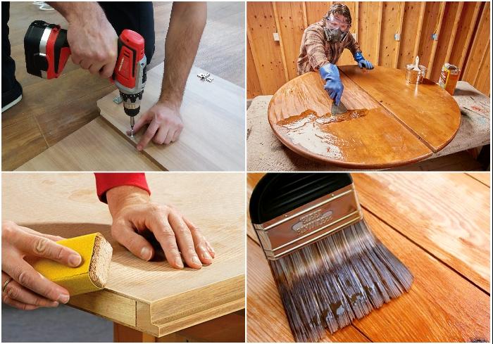 Основные этапы покраски деталей мебели при реставрации.