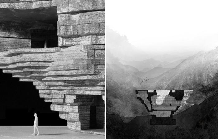 Бетонная конструкция концертного зала повторяет очертания скальной породы (визуализация «Chapel of Sound», Китай. | Фото: archdaily.com.