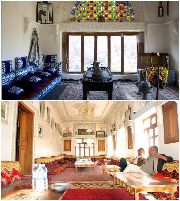 Диванные комнаты зачастую использовались для важных переговоров («Dar al-Hajar», Йемен).