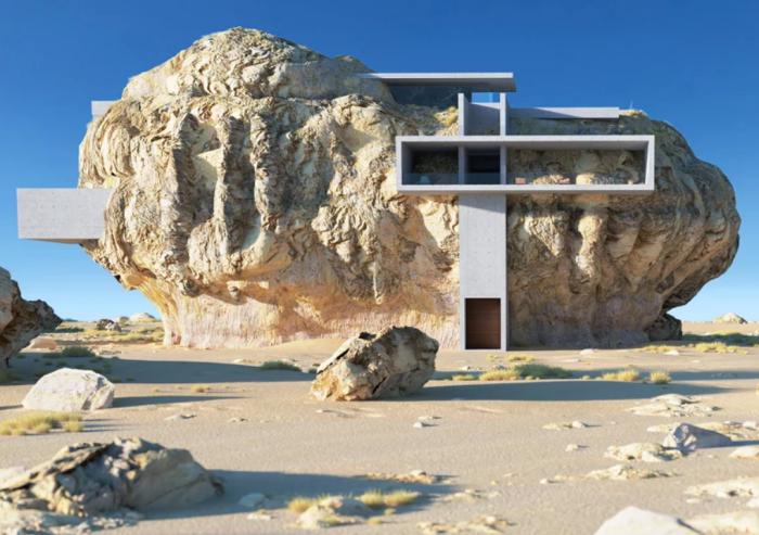 Вход в необычные апартаменты выполнен в виде шахты («Дом внутри скалы», визуализация Амея Кандалгаонкара). | Фото: instagram.com.