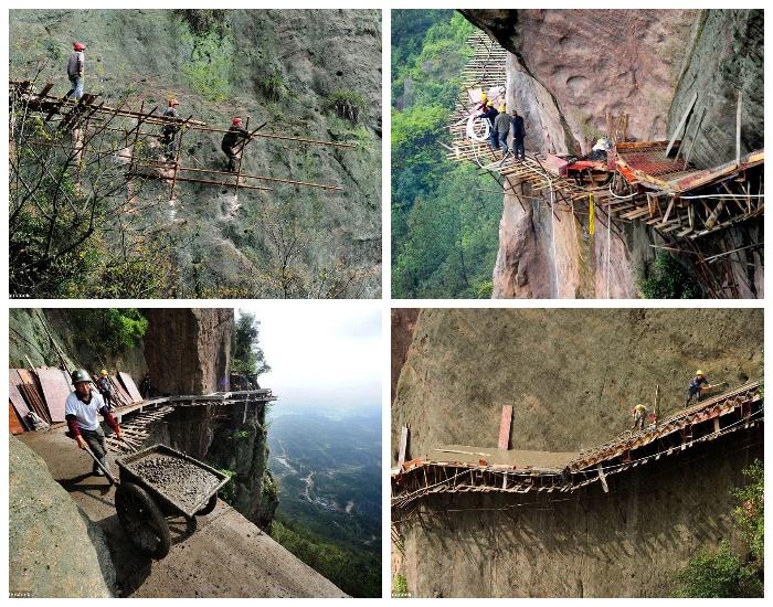 Строительство туристической тропы в горах Тяньмэнь (провинция Хунань, Китай).