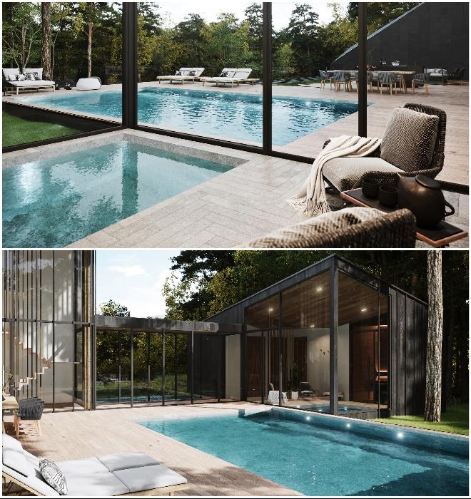 Сразу два бассейна помогут расслабиться по полной (концепт Sylvan Rock).
