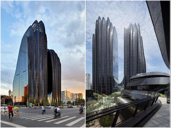 Многофункциональный комплекс «Chaoyang Park Plaza» стал самым фантастическим объектом центрального парка Пекина (Китай). | Фото: worldarchitecture.org/ designboom.com.