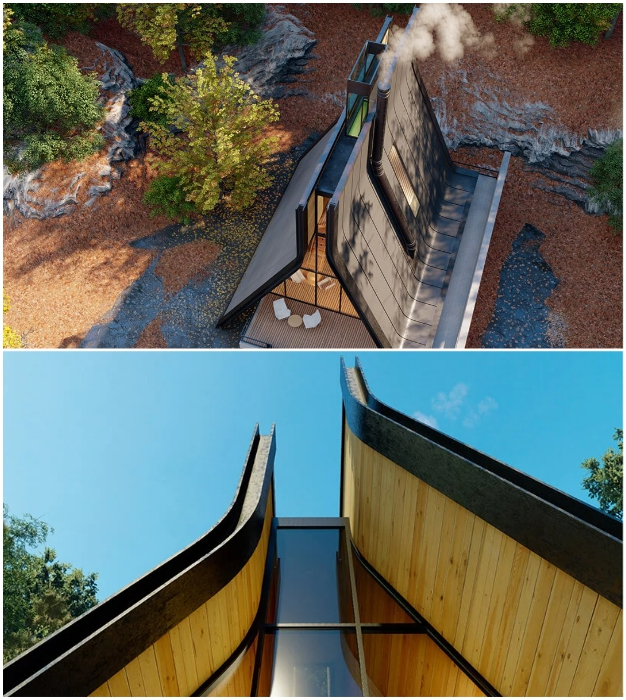 Созданный зазор между плоскостями А-образной крыши (Kujdane Cabin, Иран).