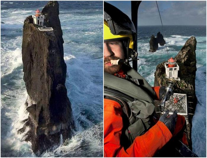 Попасть на маяк можно только с помощью вертолета и при солнечной погоде (Thridrangar Lighthouse, Исландия). | Фото: mybestplace.com/ bigpicture.ru.