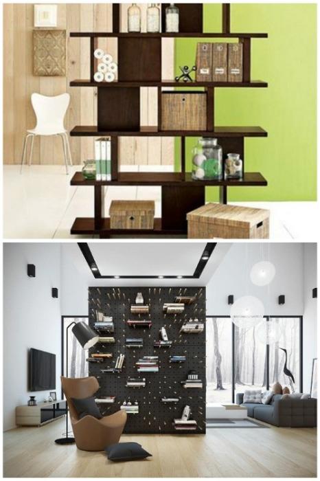 Даже строгие конструкции из книжных полок помогут разделить пространство и украсить его. | Фото: mebelx.kiev.ua.