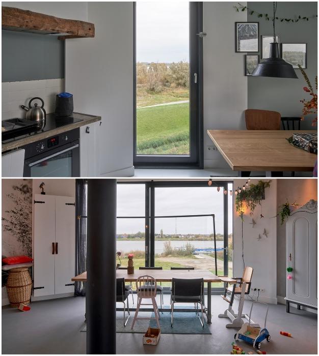 Кухня-столовая в одном из «домов» организованном в заброшенной водонапорной башне (Watertower Nieuw Lekkerland, Нидерланды).