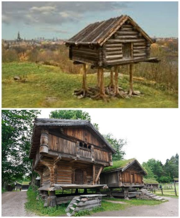Амбары в Норвегии строят до сих пор на «курьих» ножках. | Фото: liveinternet.ru.