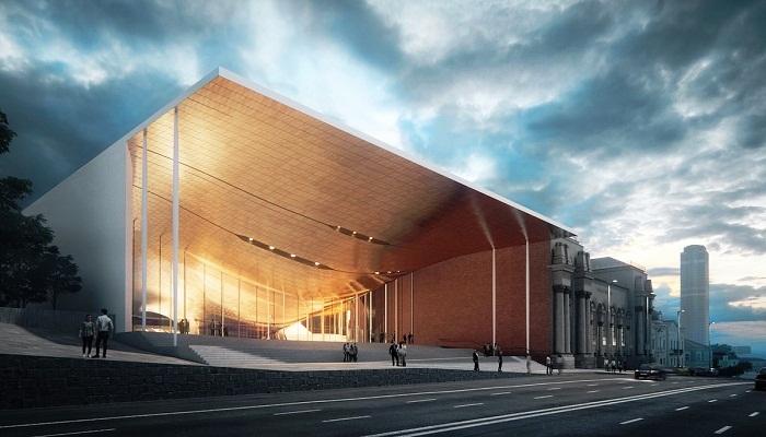 Современное футуристическое здание органично дополнит существующий ансамбль.