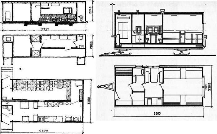Схема-чертеж распределения внутреннего пространства ЦУБов разных модификаций.