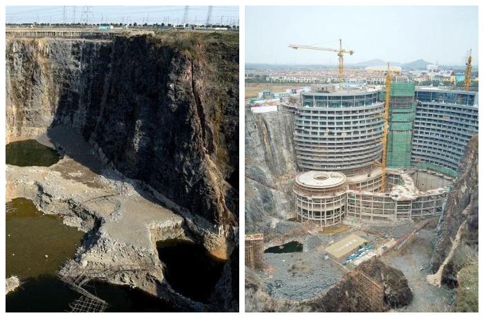 Заброшенный карьер стал строительной площадной для подземного отеля (Songjiang InterContinental).
