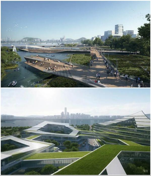 Зеленые зоны будут украшать не только городские площади, но и крыши, и даже стены домов (концепт «Net City»). | Фото: interestingengineering.com/ © NBBJ.
