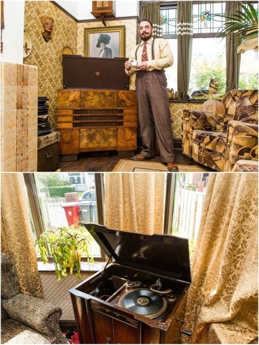 Старинный патефон и более современная радиола – особая гордость хозяина. | Фото: bigpicture.ru.