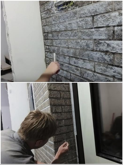 На готовую стену молодой человек нанес 3 разных цвета краски и прорисовал швы. | Фото: youtube.com/ © #Твойдом.