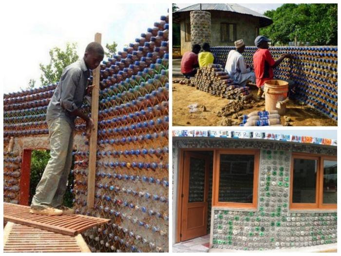 Обычный парень из лагеря беженцев построил собственный дом из пластиковых бутылок. | Фото: facebook.com.