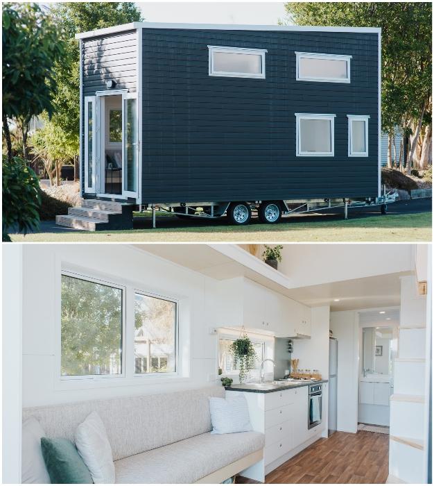 Даже из остатков стройматериалов можно создать уютный мобильный дом (Bitser Tiny House, Новая Зеландия).