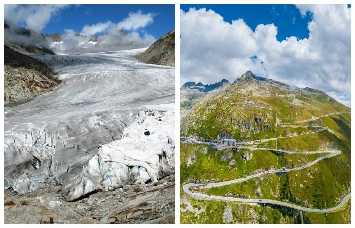 Живописные места и ледник, проходящий рядом с перевалом всегда привлекали много путешествующих (Альпы, Швейцария).