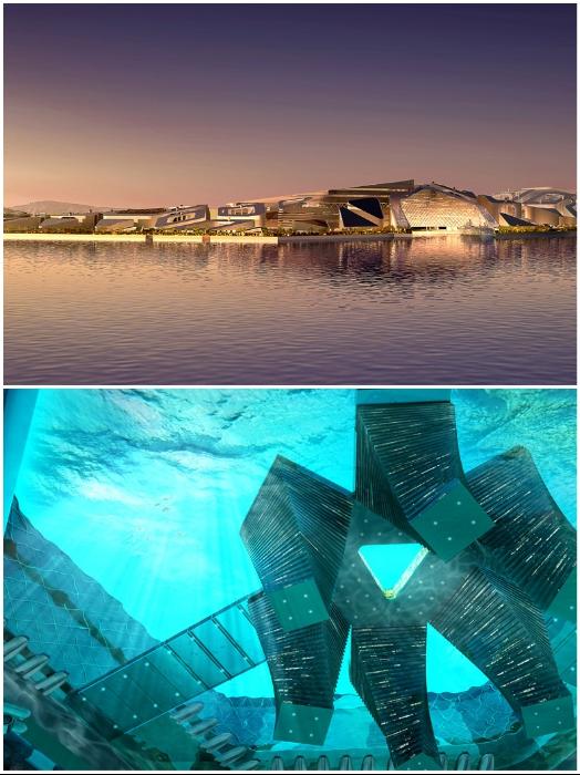 В городе будут одинаково функциональны как подводная, так и надводная часть (концепт «Eco Atlantis»). | Фото: thejrtthoughts.blogspot.com.