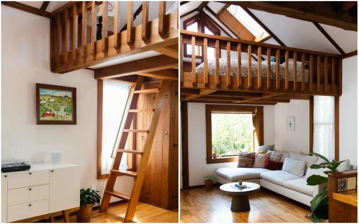 Чтобы увеличить полезную площадь домика, спальню оформили на втором уровне (Сан-Франциско, США). | Фото: pro-remont.mediasalt.ru.