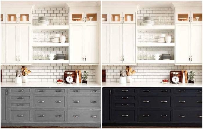 Не стоит усердствовать в размещении большого количества фурнитуры даже если так более удобно. | Фото: kitchensinteriors.ru/ pinterest.com.