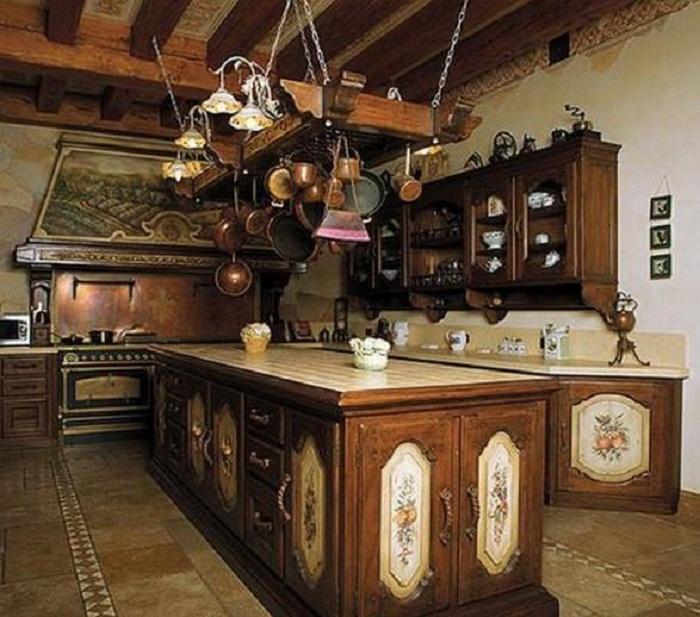 Кухня в загородном доме Лады Дэнс. | Фото: domzamkad.ru.