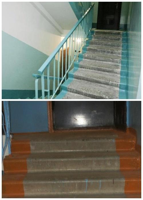 В советское время края ступеней на лестнице в подъезде всегда красили.