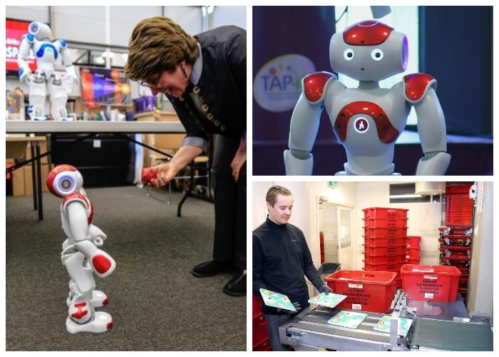 В библиотеке роботы занимаются приемом, сортировкой и доставкой книг.