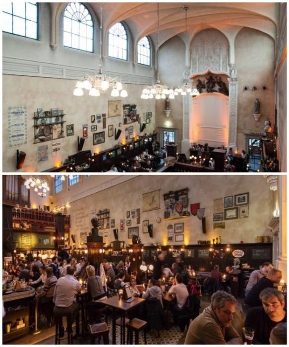 Теперь вместо духовной пищи в старинной церкви пиво льется рекой (Olivier Cafe, Нидерланды). | Фото: toloveamsterdam.com.