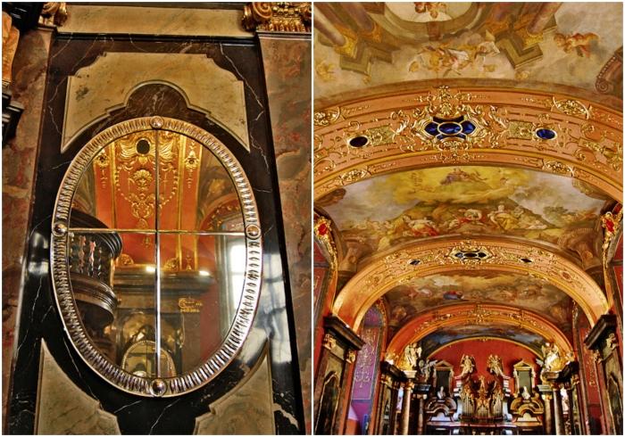 Если смотреть в зеркала под определенным углом, можно увидеть бесконечный туннель (Клементинум, Прага). | Фото: twinshotel.blogspot.com.