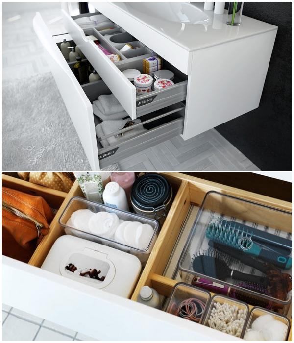 Перегородки или разделители в выдвижных ящиках помогут поддерживать порядок. | Фото: wisdom.ru/ pinterest.com.