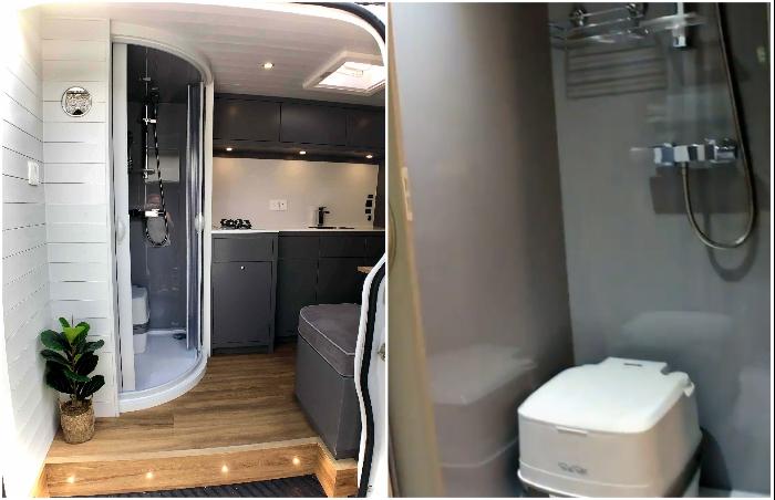 Душевая кабина с туалетом тоже могут поместиться в фургоне автомобиля Mercedes Sprinter. | Фото: bigpicture.ru/ bestlifestylebuzz.com.