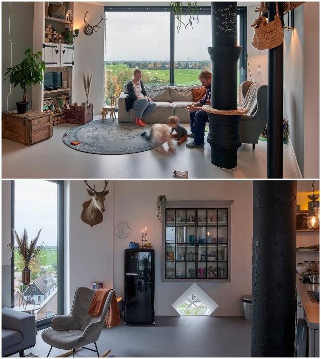 Зона гостиной в обновленной башне (Watertower Nieuw Lekkerland, Нидерланды).