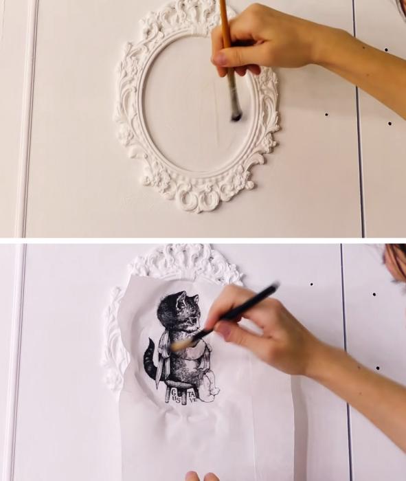 Для создания декоративных рисунков в стиле декупаж понадобится клей ПВА и терпение. | Фото: youtube.com/ © DrujkaLena.