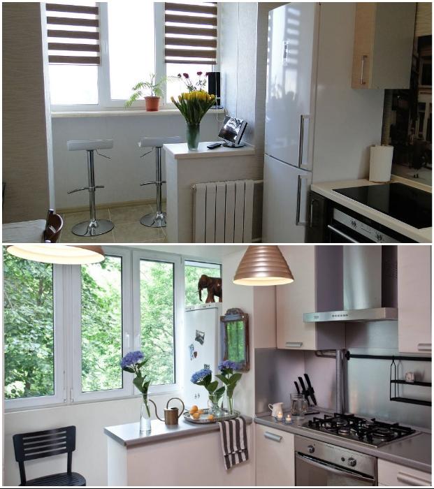 Объединение балкона с кухней имеет больше ограничений и проблем.