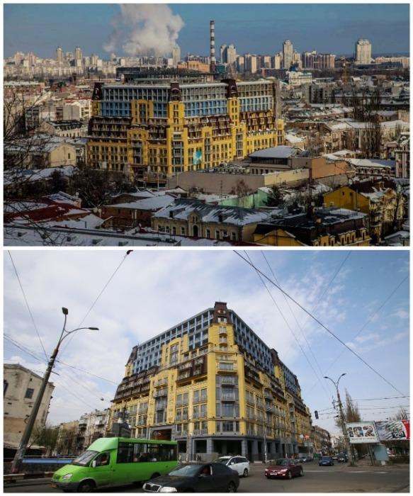 В итоге застройщик сдал в эксплуатацию такого желто-голубого «монстра», надстройка которого признана незаконной и будет демонтирована (Киев). | Фото: medium.com.