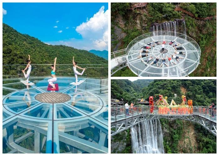 Праздничное открытие прозрачной смотровой площадки (Gulongxia, Китай). | Фото: travelask.ru.