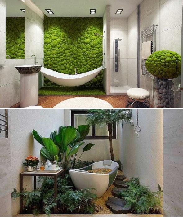Если нет возможности приобрести фитопанели, можно пристроить комнатные цветы для оформления «дворика» рядом с ванной.   Фото: zhenskie-uvlecheniya.ru/ pinterest.com.