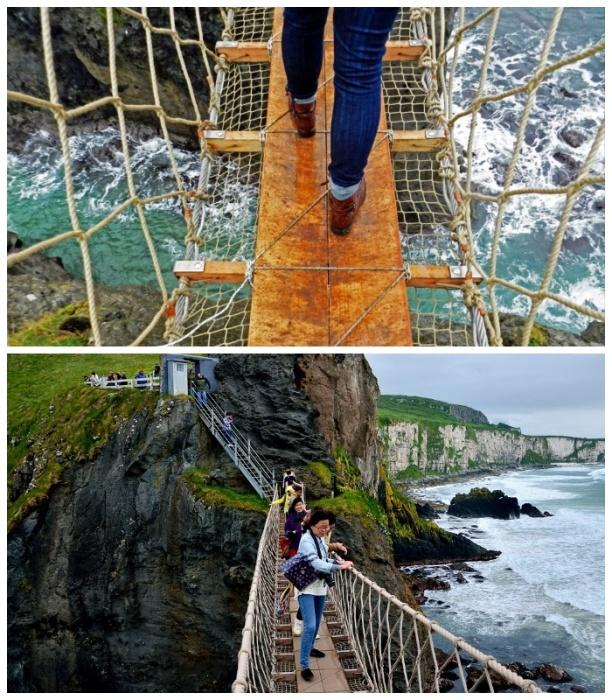 Мост Carrick-a-Rede Rope Bridge навевает ужас на путников (Северная Ирландия). | Фото: turbina.ru.