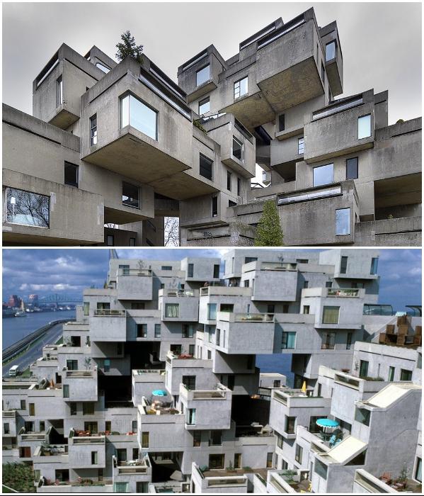Жилой комплекс «Habitat 67» состоит из 354 кубов, в которых обустроили 148 комфортабельных квартир (Монреаль, Канада). | Фото: plataformaarquitectura.cl/ greenmagazine.com.au.